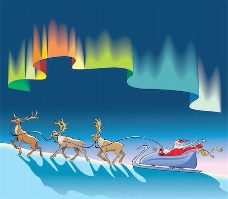 Santa Claus sleighing, Christmas reindeer, under northern lights (aurora borealis), polar night background, vector illustration Stock Photo - Budget Royalty-Free & Subscription, Code: 400-04280871