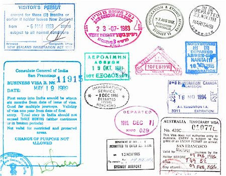 Passport stamps and visas from several countries on a white background Stock Photo - Budget Royalty-Free & Subscription, Code: 400-04280984