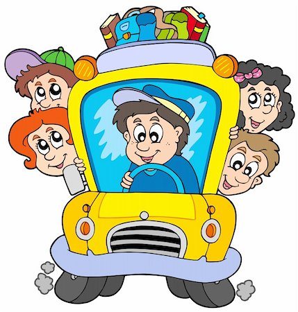 School bus with children - vector illustration. Stock Photo - Budget Royalty-Free & Subscription, Code: 400-04281136