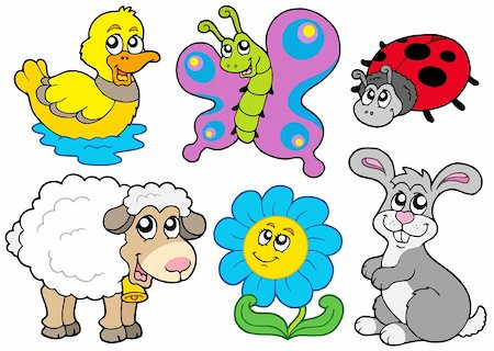 Spring animals collection - vector illustration. Stock Photo - Budget Royalty-Free & Subscription, Code: 400-04281146