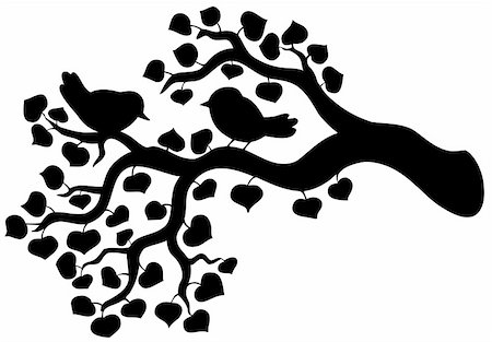 Silhouette of branch with birds - vector illustration. Stock Photo - Budget Royalty-Free & Subscription, Code: 400-04281143