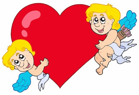 flying hearts clip art - Two Cupids holding heart - vector illustration. Stock Photo - Budget Royalty-Free & Subscription, Code: 400-04281158