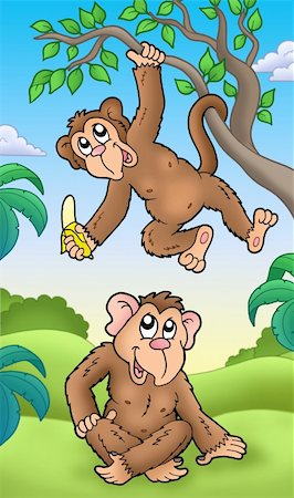Two cartoon monkeys - color illustration. Stock Photo - Budget Royalty-Free & Subscription, Code: 400-04281221