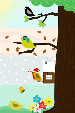 Four birds sitting in the same thee, through the four different season. Vector image Stock Photo - Budget Royalty-Free & Subscription, Code: 400-04281316