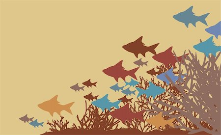 Vector illustration of fish and coral silhouettes Stock Photo - Budget Royalty-Free & Subscription, Code: 400-04281367