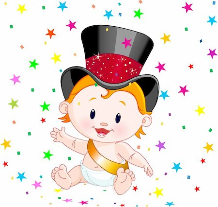 simsearch:400-04369855,k - Cute baby in a top hat with party confetti Stock Photo - Budget Royalty-Free & Subscription, Code: 400-04281567