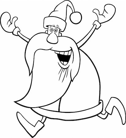 cartoon illustration of happy running santa for coloring book Stock Photo - Budget Royalty-Free & Subscription, Code: 400-04281951