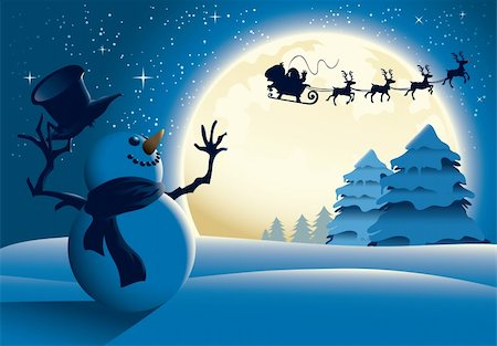 Lonely Snowman Waving to Santa Sleigh Stock Photo - Budget Royalty-Free & Subscription, Code: 400-04282786