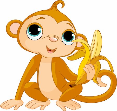 Illustration of funny Monkey with banana Stock Photo - Budget Royalty-Free & Subscription, Code: 400-04283121