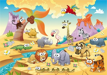 Savannah animal family with background. Funny cartoon and vector illustration, isolated objects. Stock Photo - Budget Royalty-Free & Subscription, Code: 400-04283779