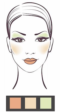 female lips drawing - Beauty girl face with makeup vector illustration Stock Photo - Budget Royalty-Free & Subscription, Code: 400-04294062
