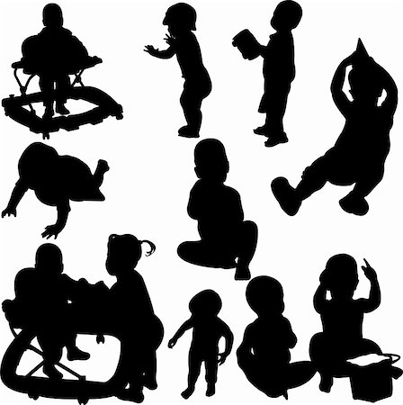 children and babies silhouettes - vector Stock Photo - Budget Royalty-Free & Subscription, Code: 400-04294077