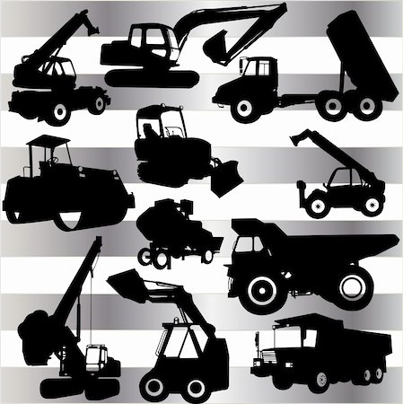 collection of construction machine - vector Stock Photo - Budget Royalty-Free & Subscription, Code: 400-04294079