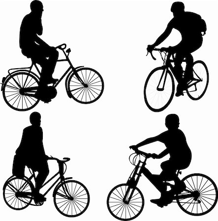 people riding bicycle - vector Stock Photo - Budget Royalty-Free & Subscription, Code: 400-04294096