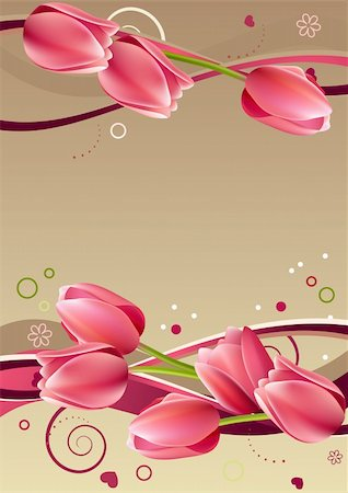 Valentine frame with hearts, tulips and abstract elements Stock Photo - Budget Royalty-Free & Subscription, Code: 400-04294341