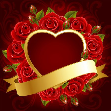 Vector illustration - Valentine's day background with roses and heart Stock Photo - Budget Royalty-Free & Subscription, Code: 400-04294491