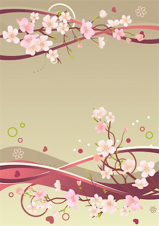 Spring frame with hearts, branches and abstract elements Stock Photo - Budget Royalty-Free & Subscription, Code: 400-04294839