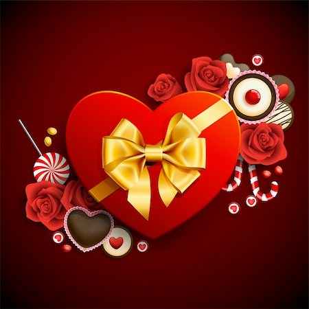 Red heart shape gift with sweets. Valentine background Stock Photo - Budget Royalty-Free & Subscription, Code: 400-04294959