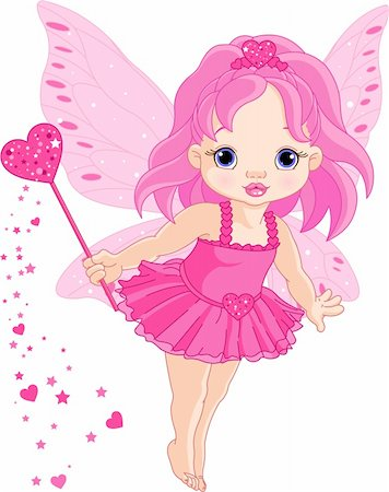 flying heart girl - Illustration of Cute little Love baby fairy in fly Stock Photo - Budget Royalty-Free & Subscription, Code: 400-04295064