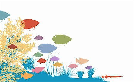 Vector illustration of colorful fish and coral silhouettes Stock Photo - Budget Royalty-Free & Subscription, Code: 400-04295117