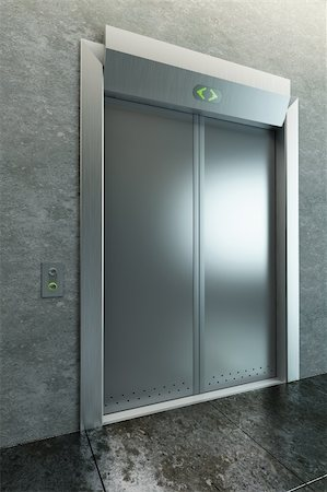 modern elevator with closed doors, 3d render Stock Photo - Budget Royalty-Free & Subscription, Code: 400-04295783