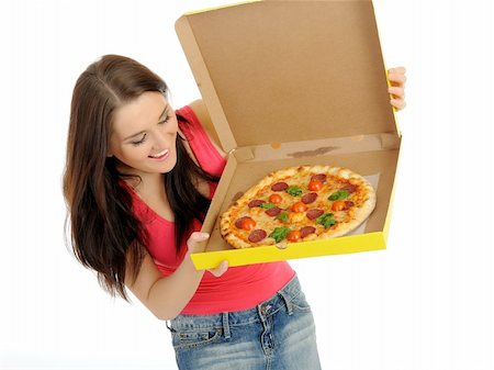 fat italian woman - Pretty young casual woman with tasty pizza in delivery paper box. isolated on white background Stock Photo - Budget Royalty-Free & Subscription, Code: 400-04296034