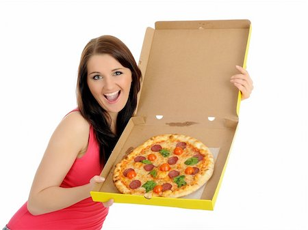 fat italian woman - Pretty young casual woman with tasty pizza in delivery paper box.   solated on white background Stock Photo - Budget Royalty-Free & Subscription, Code: 400-04296032