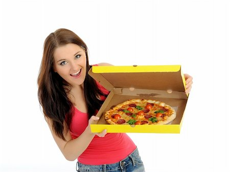 fat italian woman - Pretty young casual woman with tasty pizza in delivery paper box. isolated on white background Stock Photo - Budget Royalty-Free & Subscription, Code: 400-04296033