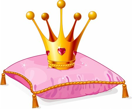 Gold Princess crown on the pink pillow Stock Photo - Budget Royalty-Free & Subscription, Code: 400-04296276