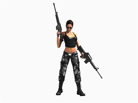 darkgeometry (artist) - 3d illustration of a soldier girl holding two guns Stock Photo - Budget Royalty-Free & Subscription, Code: 400-04296687
