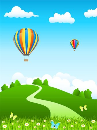 hot air balloon over green landscape Stock Photo - Budget Royalty-Free & Subscription, Code: 400-04296827