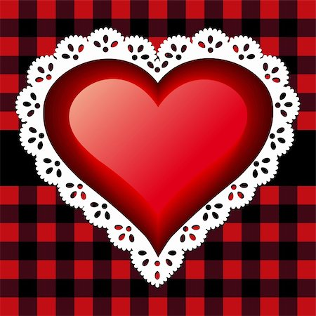 elakwasniewski (artist) - Red glossy heart with white lace on a checkered background. Stock Photo - Budget Royalty-Free & Subscription, Code: 400-04296844