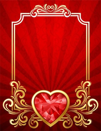 Vector illustration - Valentine's day background with gems Stock Photo - Budget Royalty-Free & Subscription, Code: 400-04297059