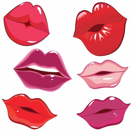 simsearch:400-04801287,k - Set of glossy lips in tender kiss. Vector illustration. Stock Photo - Budget Royalty-Free & Subscription, Code: 400-04297137