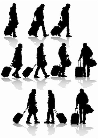 Vector drawing travelers with suitcases. Silhouettes on white background Stock Photo - Budget Royalty-Free & Subscription, Code: 400-04298474