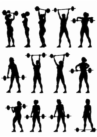 Vector image of young athletic women with a heavy barbell Stock Photo - Budget Royalty-Free & Subscription, Code: 400-04298479