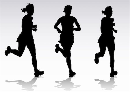 Vector drawing running athletes. Silhouettes of people Stock Photo - Budget Royalty-Free & Subscription, Code: 400-04298471