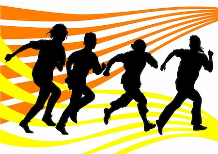 Vector drawing running athletes. Silhouettes of people background Stock Photo - Budget Royalty-Free & Subscription, Code: 400-04298473