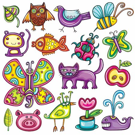Flora and fauna theme. Cartoon vector set of colorful icons of animals, birds and plants. Doodle collection contains: leafs, owl, pigeon, bumble bee, monkey, goldfish, ladybug, butterfly, kitten, apple, pig, tropical bird,  tulip in the pot, whale Stock Photo - Budget Royalty-Free & Subscription, Code: 400-04299185