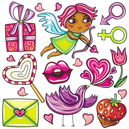 Decorative valentine elements:cute cupid shooting arrows, chocolate dipped strawberry, heart shaped lollipop, love letter present, singing love bird, flower, male and female gender signs Stock Photo - Budget Royalty-Free & Subscription, Code: 400-04299194