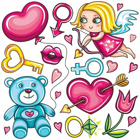 Decorative valentine elements:cute cupid shooting arrow, key to the heart,  teddybear, heart with arrow through,   female and male gender signs, diamond ring, tulip flower, hot kiss, heart shaped balloon. Stock Photo - Budget Royalty-Free & Subscription, Code: 400-04299196