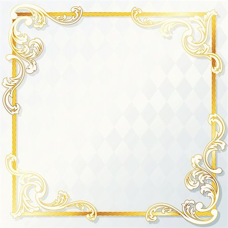 Elegant white and gold wedding frame. Graphics are grouped and in several layers for easy editing. The file can be scaled to any size. Stock Photo - Budget Royalty-Free & Subscription, Code: 400-04299472