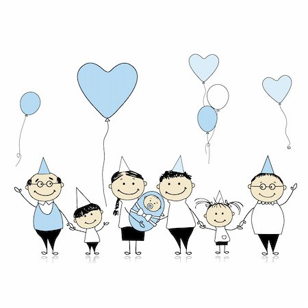 Happy birthday, big family with children, newborn baby Stock Photo - Budget Royalty-Free & Subscription, Code: 400-04299669