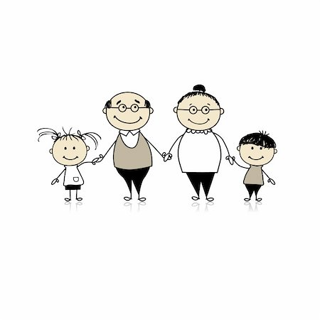 Happy family together - grandparents and grandchildren Stock Photo - Budget Royalty-Free & Subscription, Code: 400-04299670