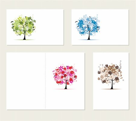 Set of business cards, floral trees for your design Stock Photo - Budget Royalty-Free & Subscription, Code: 400-04299691