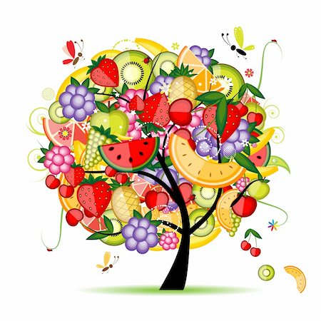 Energy fruit tree for your design Stock Photo - Budget Royalty-Free & Subscription, Code: 400-04299704