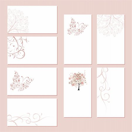 Set of business cards, floral ornament for your design Stock Photo - Budget Royalty-Free & Subscription, Code: 400-04299978