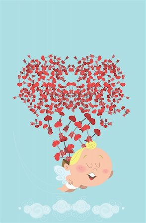 flying heart girl - Cute flying cupid, losing his back of heart arrows in the sky, who themselves are forming a heart. Great for Valentine's Day card, post card, e-card, prints or ads. Stock Photo - Budget Royalty-Free & Subscription, Code: 400-04299992