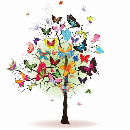 filigree designs in trees and insects - Floral tree with butterfly, element for design, vector illustration Stock Photo - Budget Royalty-Free & Subscription, Code: 400-04290504