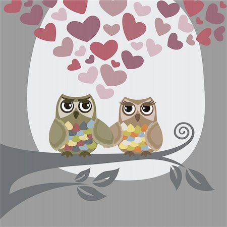 Love is in the air for two owls. This image is a vector illustration. Please visit my portfolio for similar illustrations. Stock Photo - Budget Royalty-Free & Subscription, Code: 400-04291893